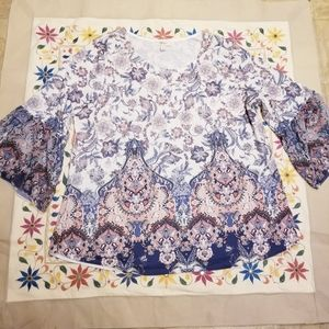 Style & Co Blue Paisley Bell Sleeve top